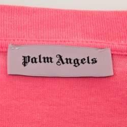 Palm Angels Neon Pink Logo Print Cotton Long Sleeve T-Shirt M