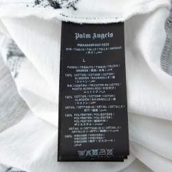 Palm Angels White Mermaid Printed Cotton & Applique Detail Crewneck T-shirt L