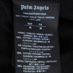 Palm Angels Black Cotton Logo & Mermaid Printed Crewneck Paneled T-shirt M