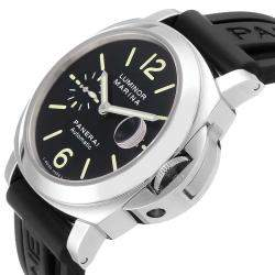 Panerai Black Stainless Steel Luminor Marina Automatic PAM00104 Men's Wristwatch 44 MM
