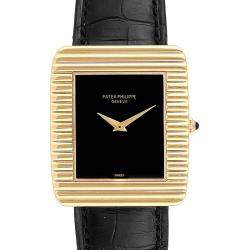 Patek Philippe Black 18K Yellow Gold and Leather 3633 Men's Wristwatch 29.0 x 33.5MM