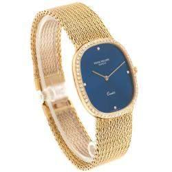 Patek Philippe Blue 18K Yellow Gold and Diamond Ellipse 3875 Men's Wristwatch 35x 31MM