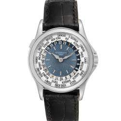 Patek Philippe Blue Platinum World Time Complications 5110 Men's Wristwatch 37 MM