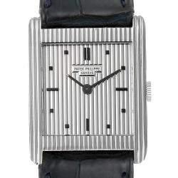Patek Philippe Silver 18K White Gold Gondolo Vintage 3467 Men's Wristwatch 26 MM