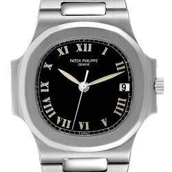 Patek Philippe Black Stainless Steel Nautilus Automatic 3800 Men's Wristwatch 37.5 MM