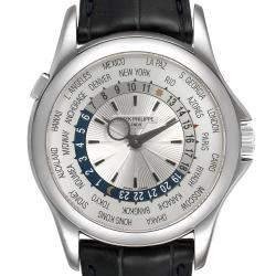Patek Philippe Silver 18K White Gold World Time Complications 5130 Men's Wristwatch 39.5 MM