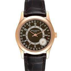 Patek Philippe Brown 18K Rose Gold Calatrava 6000 Men's Wristwatch 37 MM
