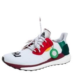 Pharrell X adidas White Fabric Hu Glide Sneakers Size 44.5