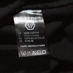Philipp Plein Black Cotton Zipper Detail T-Shirt 4XL