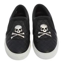 Philipp Plein Black Leather Skull Slip On Sneakers Size 38