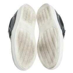 Philipp Plein Black Leather Skull Slip On Sneakers Size 38