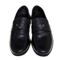 Prada Black Saffiano Leather Logo Loafers Size 40.5