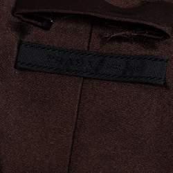 Prada Brown Floral Detail Silk Tie