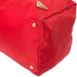 Prada Red Nylon and Leather Duffle Bag