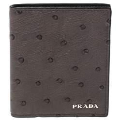 Prada Grey Ostrich Bifold Wallet