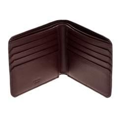 Prada  Burgundy Saffiano Lux Leather Bifold Wallet