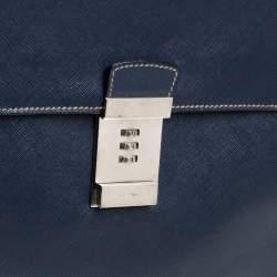 Prada Navy Blue Saffiano Cuir Leather Work  Briefcase