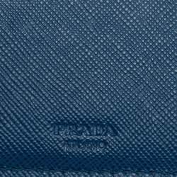 Prada Blue Saffiano Leather Bifold Wallet