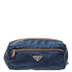Prada Navy Blue/Brown Tessuto Nylon Wash Bag