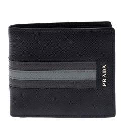 Prada Black/Grey Saffiano Leather Stripe Bi-Fold Wallet