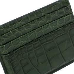Prada Emerald Green Crocodile Card Holder