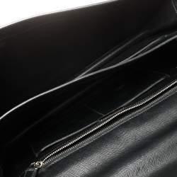 Prada Black Saffiano Lux Leather Double Gusset Briefcase