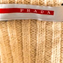 Prada Cream Rib Knit Zip Front Sweater M