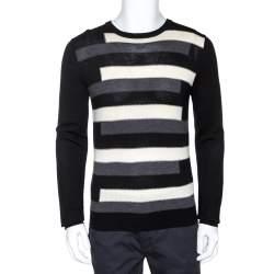 Prada Tricolor Striped Wool Crewneck Sweater L