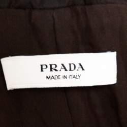 Prada Dark Brown Nylon Double Breasted Coat L