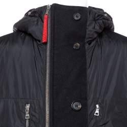 Prada Black Zip Front Hooded Puffer Coat XL