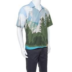 قميص برادا ياقة مفتوحة قطن مطبوع جبال أزرق فاتح مقاس كبير (لارج)