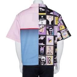Prada Pink Printed Cotton Patchwork Shirt XL
