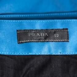 Prada Blue Synthetic Elastic Detail Capri Pants XL