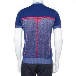 Prada Navy Blue & Red Knit Technical Mouline Sweater L
