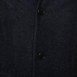 معطف برادا أزرار أمامية صوف لباد أزرق داكن مقاس صغير