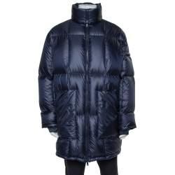 Prada Navy Blue Synthetic Hooded Puffer Parka Jacket L
