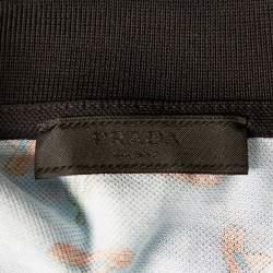 Prada Blue Sombrero Printed Cotton Pique Polo T-Shirt L
