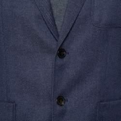 Prada Navy Blue Wool Button Front Blazer L