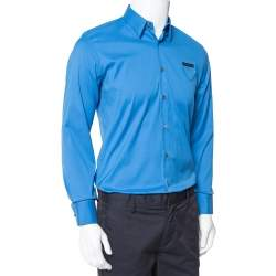 Prada Blue Stretch Cotton Button Front Shirt S