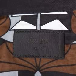 Prada Brown Abstract Printed Cotton Short Sleeve Bowling Shirt XL