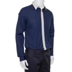 Prada Navy Blue Cotton Contrast Collar & Placket Detail Button Front Shirt L
