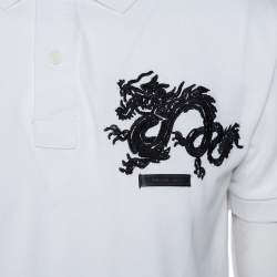 Prada White Cotton Pique Dragon Embroidered Polo T-Shirt XXL