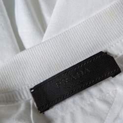 تي شيرت برادا قطن أبيض تنين مطرز رقبة مستديرة مقاس كبير جدًا جدًا - إكس إكس لارج