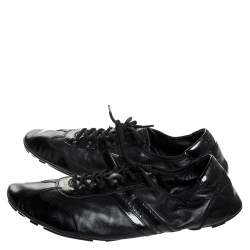 Prada Black Leather and Patent Leather Lace Up Sneakers Size 41