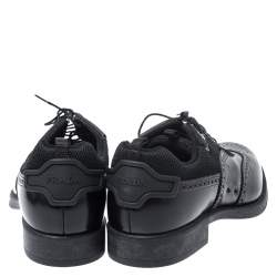 Prada Black Brogue Leather and Mesh Lace Up Derby Sneakers Size 44