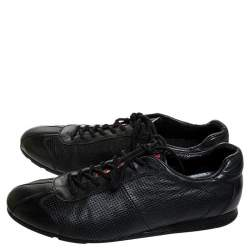 Prada Sport Black Perforated Leather Lace Up Low Top Sneakers Size 41.5