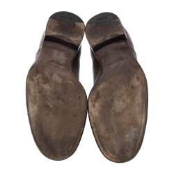 حذاء أوكسفورد برادا إلاستيك جلد بني مقاس 41.5