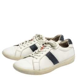 Prada White Leather Low Top Sneakers Size 42.5