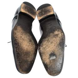 Prada Black Patent Leather Lace Up Oxfords Size 43.5