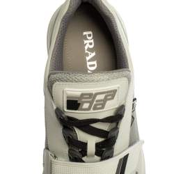 Prada White Leather And Mesh  Mechano Low Top Sneakers Size 44